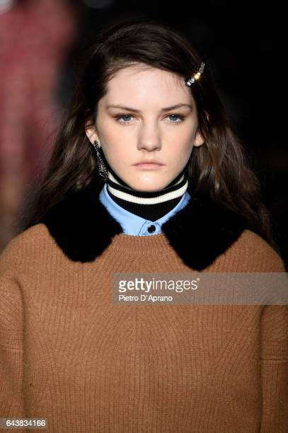 A model beauty detail walks the runway at the N21 show during Milan Fashion Week Fall/Winter 2017/18 on February 22 2017 in Milan Italy