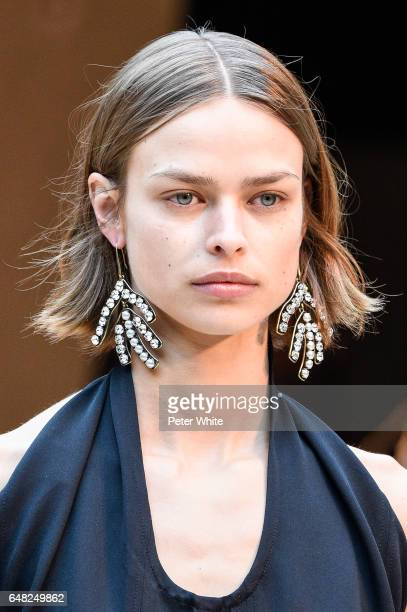 A model beauty detail walks the runway during the Celine show as part of the Paris Fashion Week Womenswear Fall/Winter 2017/2018 on March 5 2017 in...