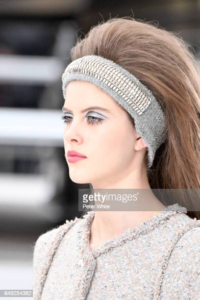 A model beauty detail walks the runway during the Chanel show as part of the Paris Fashion Week Womenswear Fall/Winter 2017/2018 on March 7 2017 in...