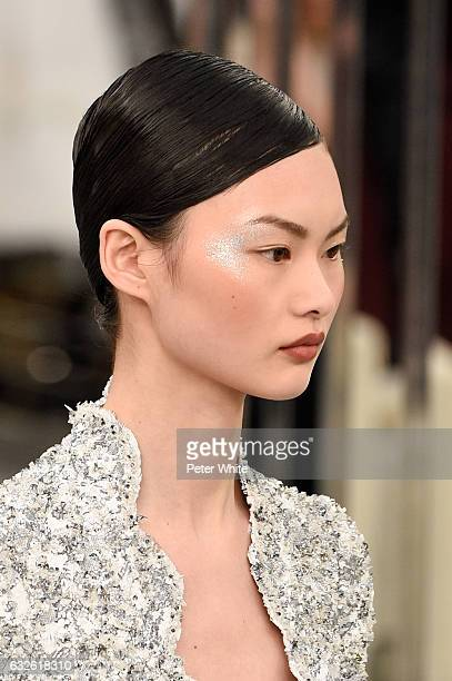 A model beauty detail walks the runway during the Chanel Spring Summer 2017 show as part of Paris Fashion Week on January 24 2017 in Paris France