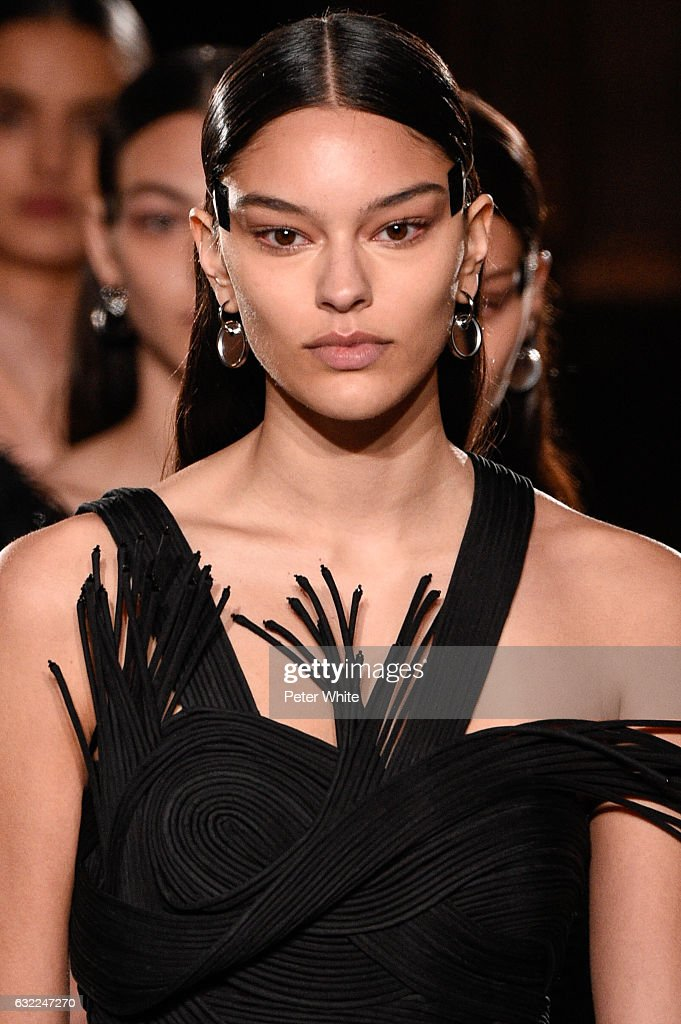A model, beauty detail, walks the runway during the Givenchy Menswear Fall/Winter 2017-2018 show as part of Paris Fashion Week on January 20, 2017 in Paris, France.