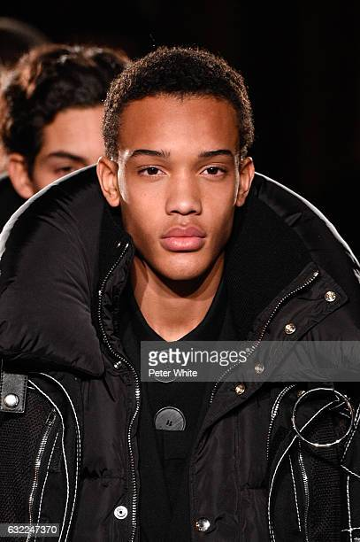 Model, beauty detail, walks the runway during the Givenchy Menswear Fall/Winter 2017-2018 show as part of Paris Fashion Week on January 20, 2017 in...