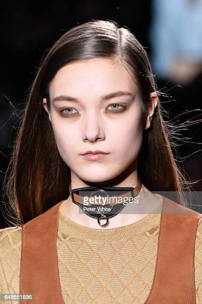 A model beauty detail walks the runway during the Hermes show as part of the Paris Fashion Week Womenswear Fall/Winter 2017/2018 on March 6 2017 in...