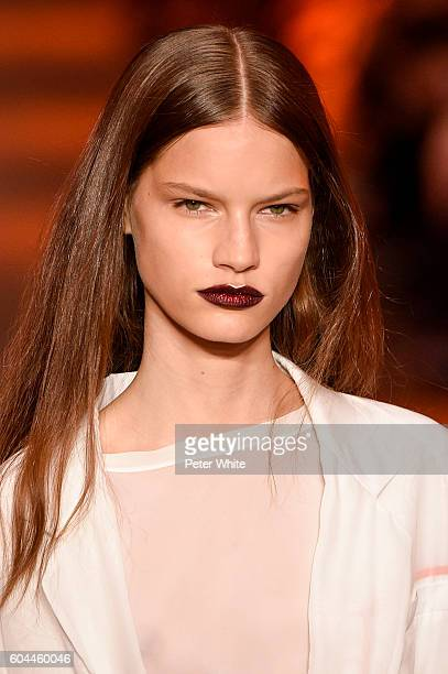 A model beauty runway detail walks the runway at DKNY Women's Fashion Show during New York Fashion Week at High Line on September 12 2016 in New York...