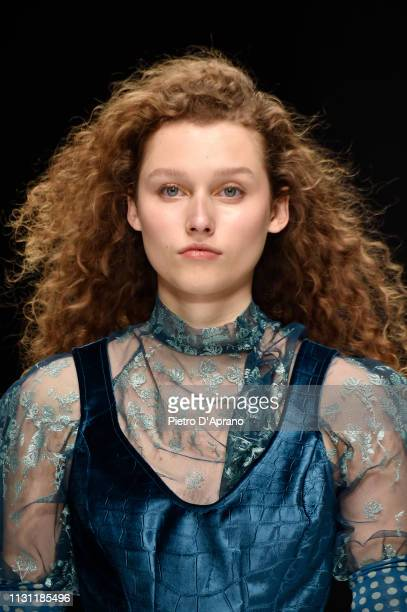 A model beauty runway detail walks the runway at the Anteprima show at Milan Fashion Week Autumn/Winter 2019/20 on February 21 2019 in Milan Italy