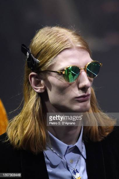 A model beauty runway detail walks the runway at the Gucci Fall/Winter 2020/21 fashion show during Milan Fashion Week on February 19 2020 in Milan...