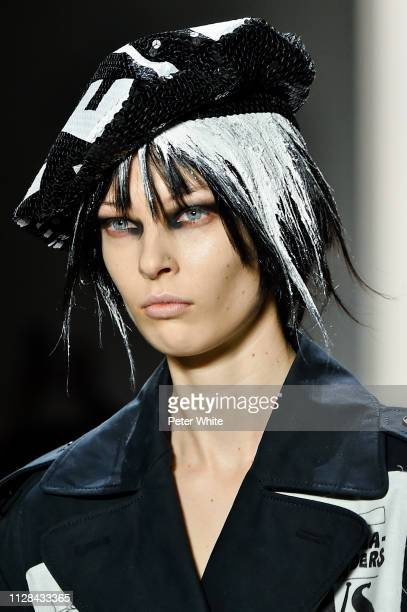 Model, beauty runway detail, walks the runway at the Jeremy Scott fashion show during New York Fashion Week on February 08, 2019 in New York City.