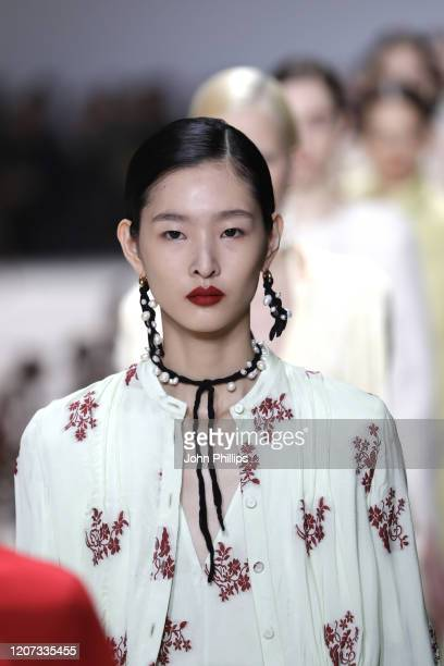 Model, beauty runway detail, walks the runway during the Jil Sander fashion show as part of Milan Fashion Week Fall/Winter 2020-2021 on February 19,...