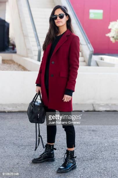 Model Begona Martin wears Pull Bear boots Zara trousers Zara coat and All Saints Sweater during Mercedes Benz Fashion Week Madrid Autumn / Winter...