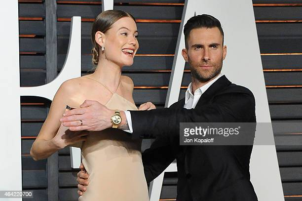 Model Behati Prinsloo and recording artist Adam Levine attend the 2015 Vanity Fair Oscar Party hosted by Graydon Carter at Wallis Annenberg Center...