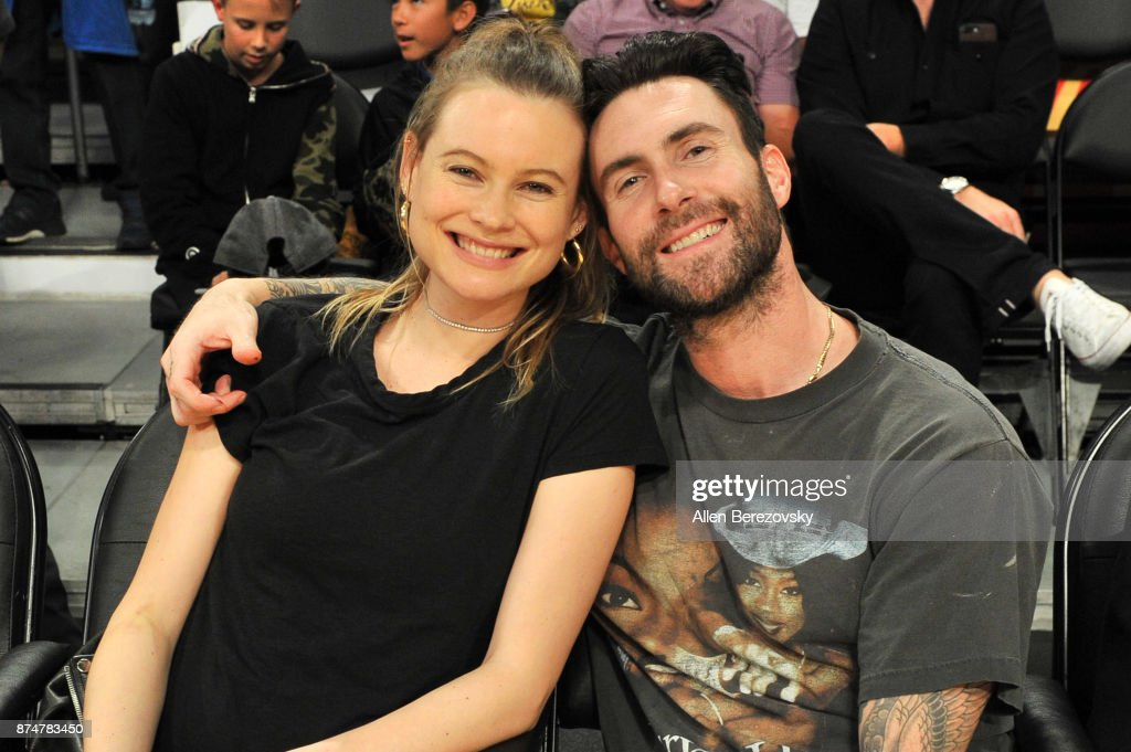 Adam Levine & Behati Prinsloo enjoyed a date night at the Lakers game before Baby #2 arrives.