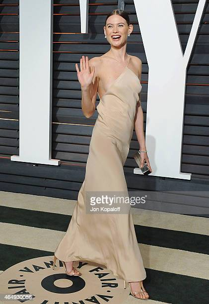 Model Behati Prinsloo arrives at the 2015 Vanity Fair Oscar Party Hosted By Graydon Carter at Wallis Annenberg Center for the Performing Arts on...