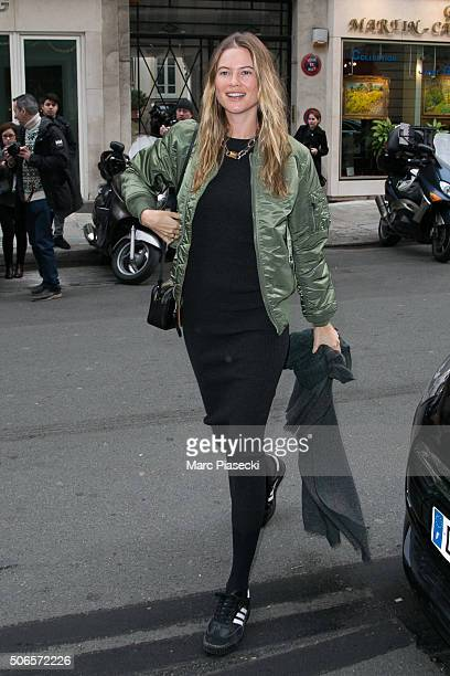 Model Behati Prinsloo is seen at the 'Bristol' hotel on January 24 2016 in Paris France