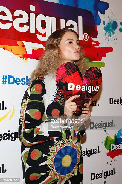 Model Behati Prinsloo poses backstage at the Desigual fashion show during MercedesBenz Fashion Week Fall 2015 at The Theatre at Lincoln Center on...