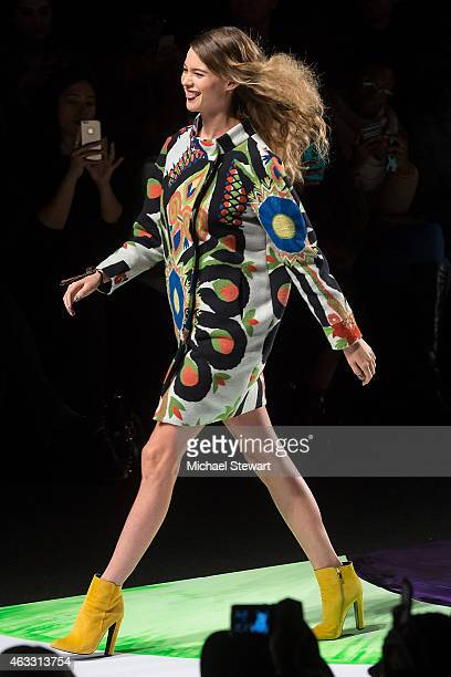 Model Behati Prinsloo walks the runway at the Desigual show during MercedesBenz Fashion Week Fall 2015 at The Theatre at Lincoln Center on February...