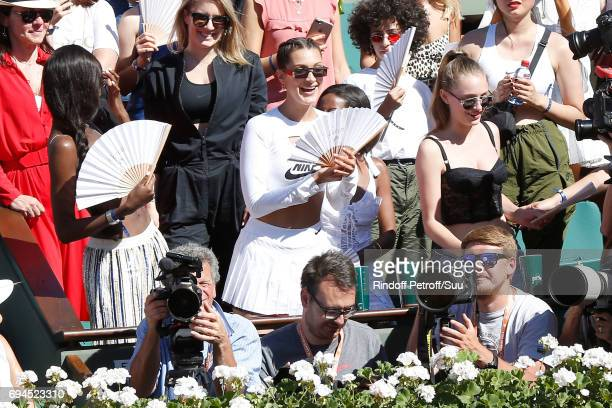 Model Bella Hadid and guests applause at the end of the Women Final of the 2017 French Tennis Open - Day Fourteen at Roland Garros on June 10, 2017...