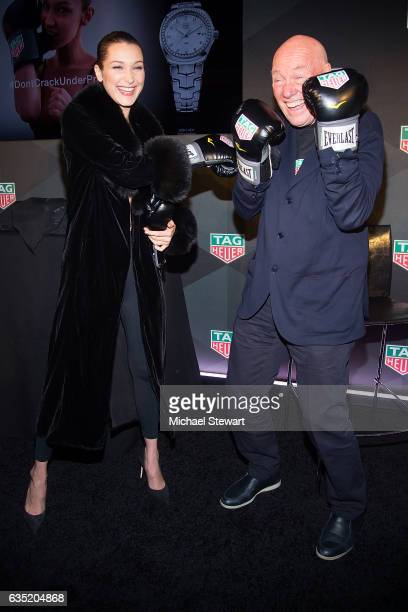 Model Bella Hadid and JeanClaude Biver attend the new face of Tag Heuer announcement at Equinox on February 13 2017 in New York City