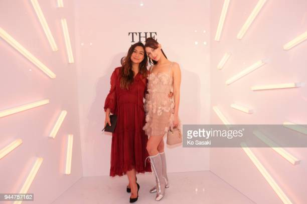 Model Bella Hadid and Justine Cullen attend Dior's The Art of Color Press Preview on April 11 2018 in Tokyo Japan