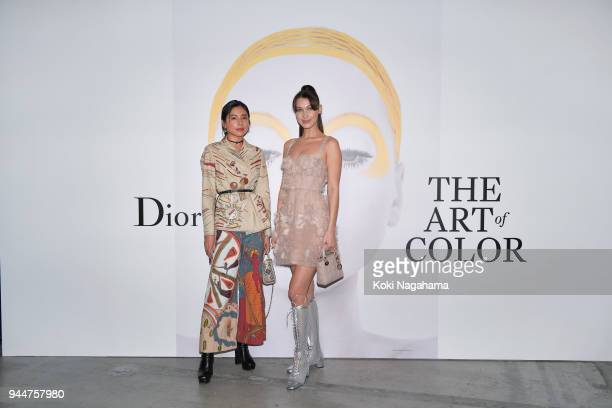 Model Bella Hadid and Loveli attend Dior's The Art of Color Press Preview on April 11 2018 in Tokyo Japan