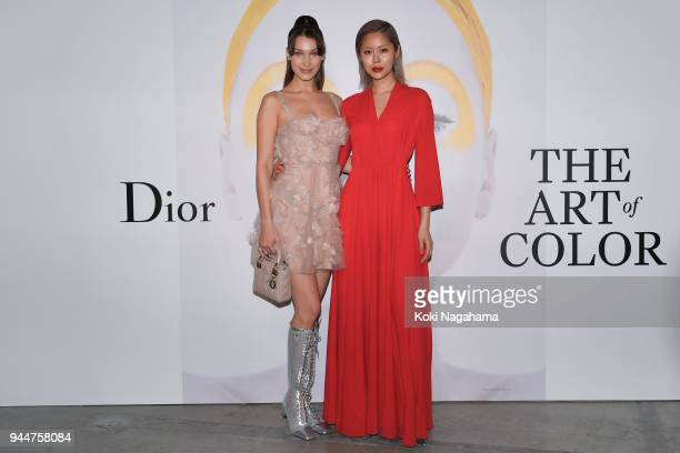 Model Bella Hadid and Model Ahn AhReum attend Dior's The Art of Color Press Preview on April 11 2018 in Tokyo Japan