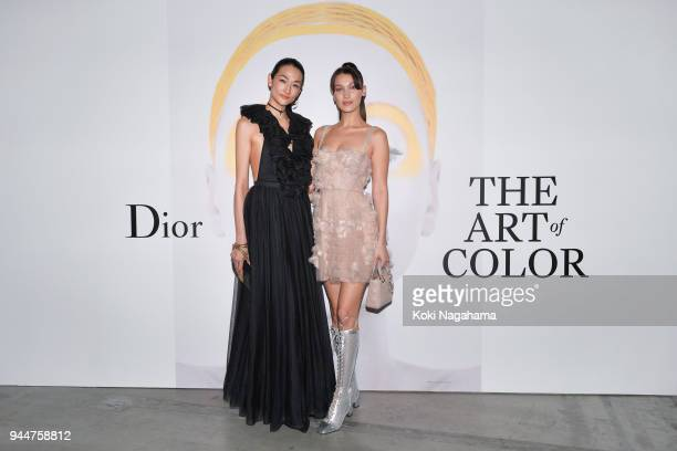 Model Bella Hadid and Model Ai Tominaga attend Dior's The Art of Color Press Preview on April 11 2018 in Tokyo Japan