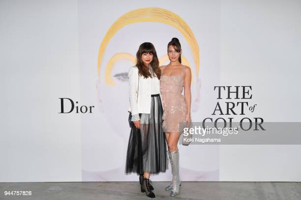 Model Bella Hadid and Model YounnA attend Dior's The Art of Color Press Preview on April 11 2018 in Tokyo Japan