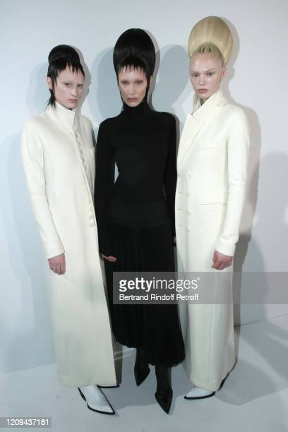 Model Bella Hadid and Models pose after the Haider Ackermann show as part of the Paris Fashion Week Womenswear Fall/Winter 2020/2021 on February 29,...