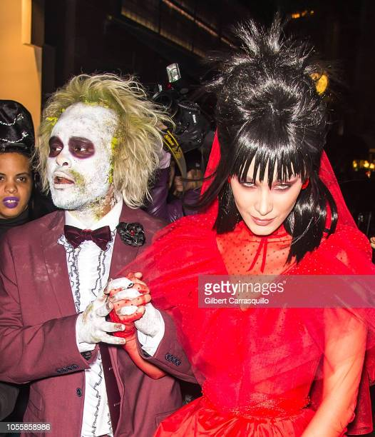 Model Bella Hadid and singer The Weeknd are seen leaving Heidi Klum's 19th Annual Halloween Party at Lavo NYC on October 31 2018 in New York City