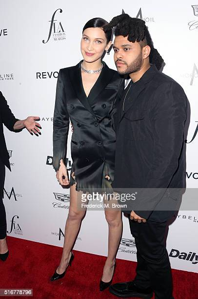 Model Bella Hadid and singer The Weeknd attend the Daily Front Row 'Fashion Los Angeles Awards' at Sunset Tower Hotel on March 20 2016 in West...