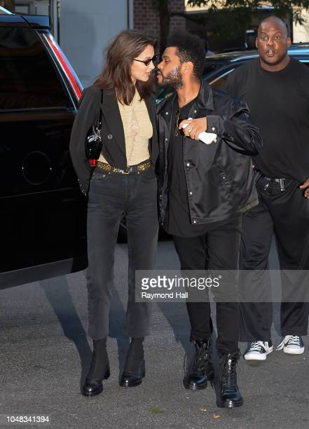 Model Bella Hadid and The Weeknd are seen in soho on 'Bella Hadid Birthday' on October 9 2018 in New York City