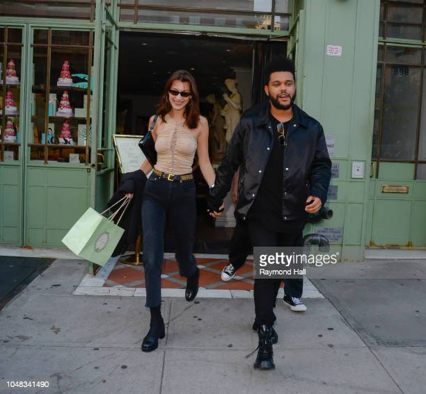 Model Bella Hadid and The Weeknd are seen in Soho on October 9 2018 in New York City