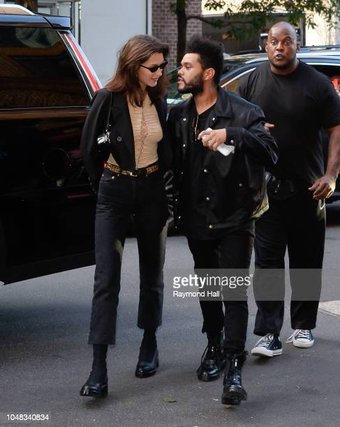 Model Bella Hadid and The Weeknd are seen kissing in Soho on October 9 2018 in New York City