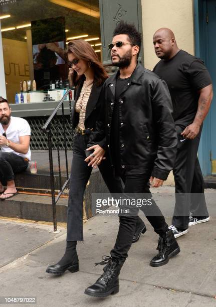 Model Bella Hadid and The Weeknd are seen on her birthday in Soho on October 9 2018 in New York City