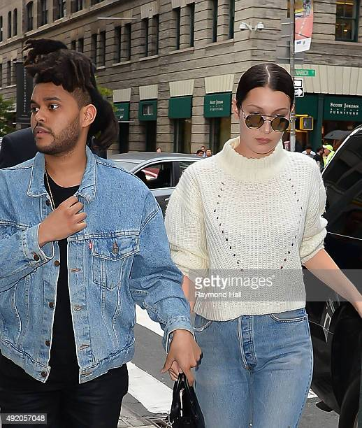 Model Bella Hadid and The Weeknd are seen walking in Soho on October 9 2015 in New York City
