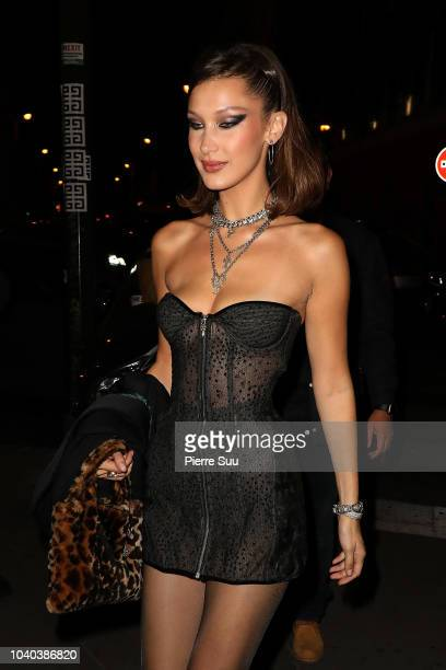 Model Bella Hadid arrives at a party that she is hosting at 'Carmen' night club on September 25, 2018 in Paris, France.