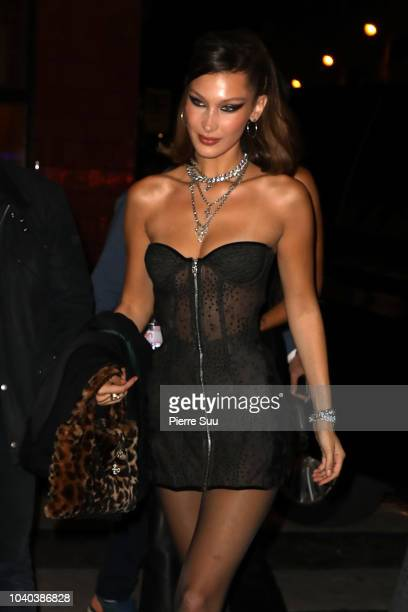Model Bella Hadid arrives at a party that she is hosting at 'Carmen' night club on September 25 2018 in Paris France