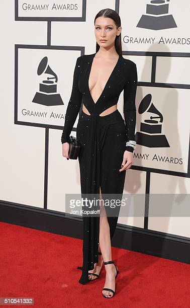 Model Bella Hadid arrives at The 58th GRAMMY Awards at Staples Center on February 15 2016 in Los Angeles California