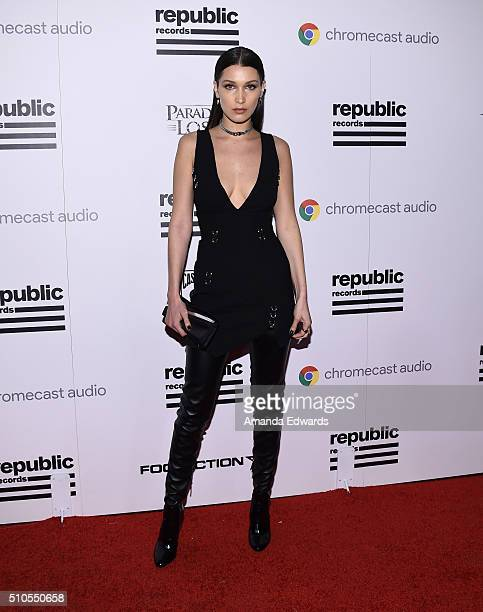Model Bella Hadid arrives at the Republic Records Private GRAMMY Celebration at HYDE Sunset Kitchen Cocktails on February 15 2016 in West Hollywood...