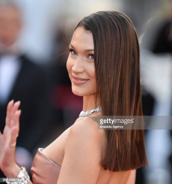 US model Bella Hadid arrives for the screening of the film 'Ash Is Purest White' in competition at the 71st Cannes Film Festival in Cannes France on...