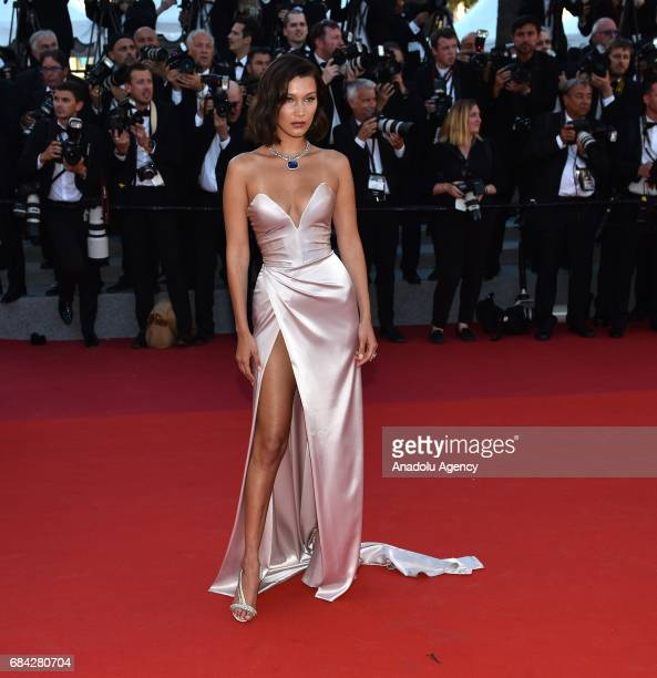 US model Bella Hadid arrives for the screening of the film 'Les Fantomes dIsmael' out of competition and the Opening Ceremony of the 70th annual...