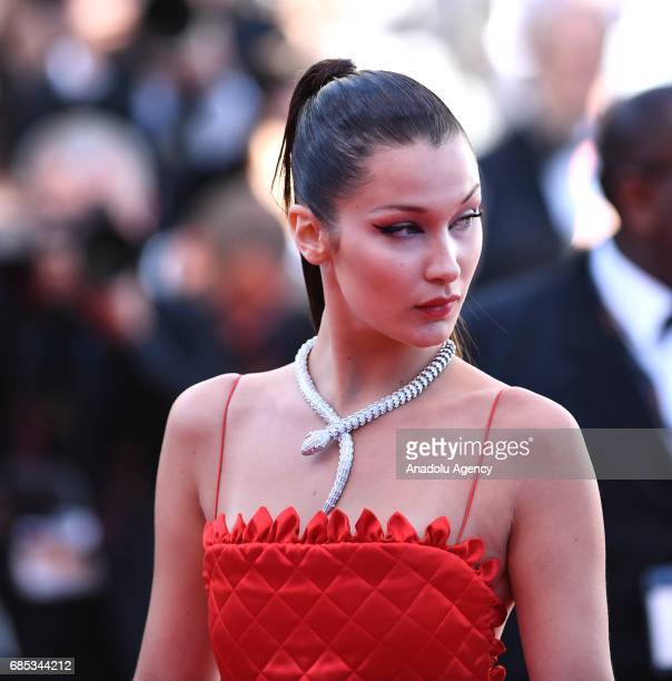 US model Bella Hadid arrives for the screening of the film 'Okja' in competition at the 70th annual Cannes Film Festival in Cannes France on May 19...