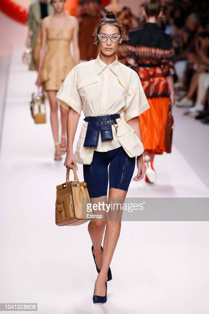 Model Bella Hadid at the Fendi show during Milan Fashion Week Spring/Summer 2019 on September 20 2018 in Milan Italy