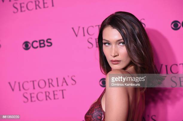 Model Bella Hadid attends as Victoria's Secret Angels gather for an intimate viewing party of the 2017 Victoria's Secret Fashion Show at Spring...