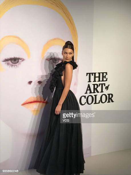 Model Bella Hadid attends 'Dior The Art of Color' exhibition at MoCA Shanghai on March 21 2018 in Shanghai China
