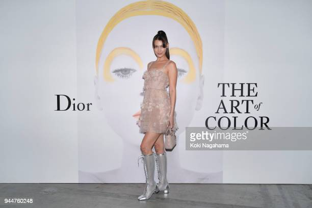 Model Bella Hadid attends Dior's The Art of Color Press Preview on April 11 2018 in Tokyo Japan
