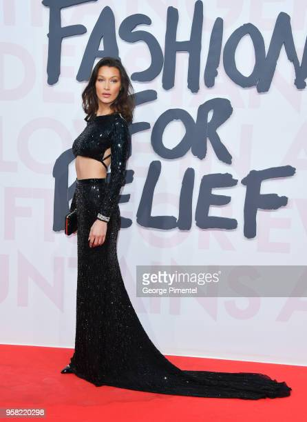 US model Bella Hadid attends Fashion For Relief Cannes 2018 during the 71st annual Cannes Film Festival at Aeroport Cannes Mandelieu on May 13 2018...
