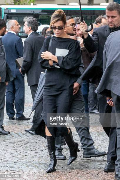 Model Bella Hadid attends Peter Lindbergh's funeral at Eglise Saint-Sulpice on September 24, 2019 in Paris, France.