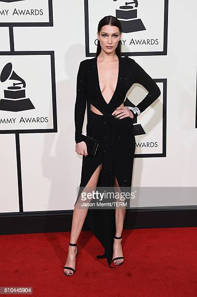Model Bella Hadid attends The 58th GRAMMY Awards at Staples Center on February 15 2016 in Los Angeles California