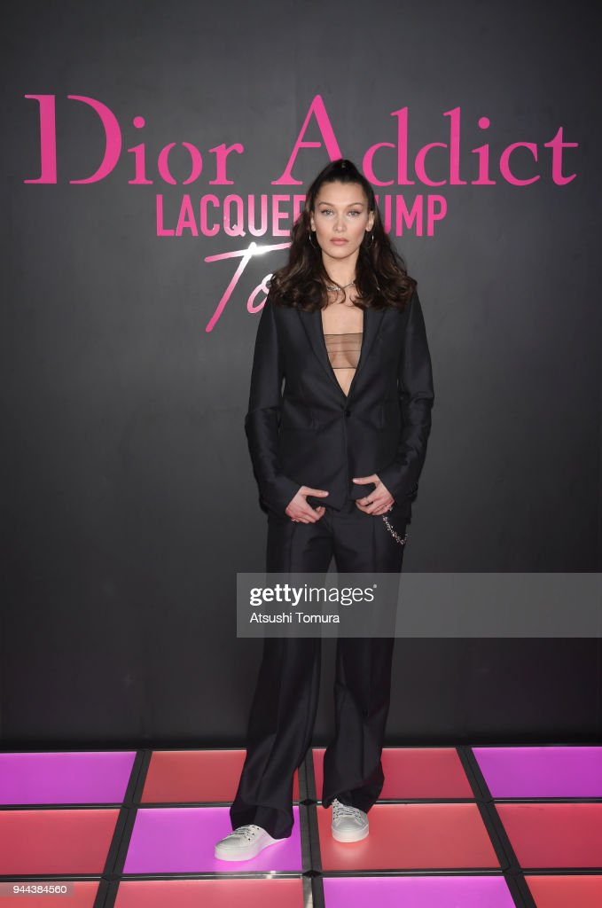 Model Bella Hadid attends the Dior Addict Lacquer Plump Party at 1 OAK on April 10, 2018 in Tokyo, Japan.
