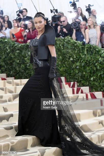 Model Bella Hadid attends the Heavenly Bodies Fashion The Catholic Imagination Costume Institute Gala at The Metropolitan Museum of Art on May 7 2018...
